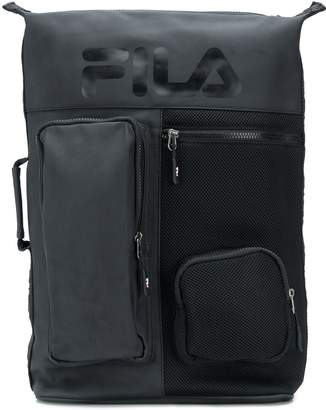 logo print utility backpack