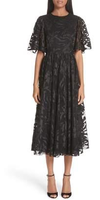 Co Flutter Sleeve Floral Applique Midi Dress
