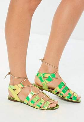 Missguided Iridescent Snake Print Gladiator Sandals