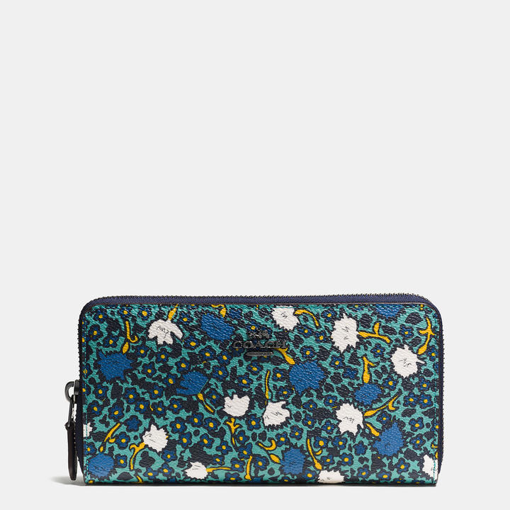 Coach   COACH Coach Accordion Zip Wallet In Yankee Floral Print Coated Canvas