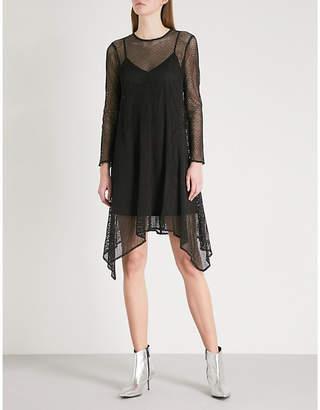 Mo&Co. Handkerchief-hem mesh dress