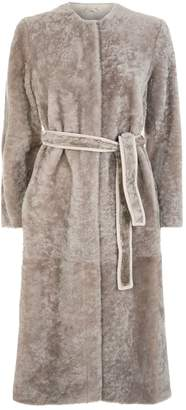 Max Mara Legume Collarless Shearling Coat