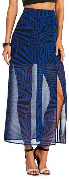 Charlotte Russe Pieced Stripe Maxi Skirt