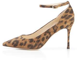 Marion Parke Muse Leopard | Suede Stiletto Pump With Ankle Strap
