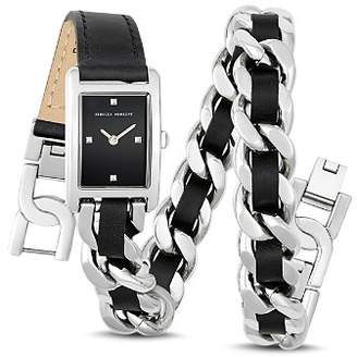 Rebecca Minkoff Moment Leather & Chain Wrap Watch, 19mm