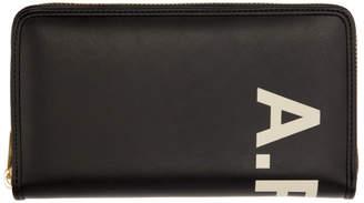 A.P.C. Black Vinyl Logo Continental Wallet