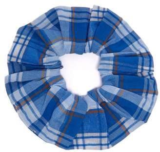 Ganni Charron Check Scrunchie - Womens - Blue