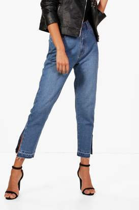 boohoo Split Seam Hem Detail Mom Jeans