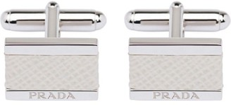 Prada silver and Saffiano leather cufflinks