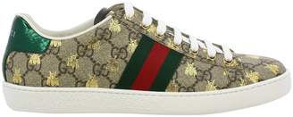 Gucci Sneakers New Ace Sneakers In Gg Supreme Leather With Web Bands And All Over Bee Print