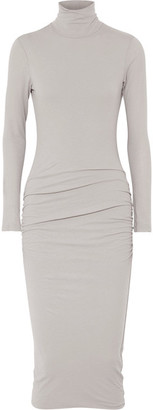 James Perse - Ruched Stretch-cotton Jersey Turtleneck Midi Dress - Stone $225 thestylecure.com