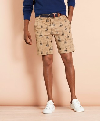 Brooks Brothers Sailboat-Print Cotton Twill Shorts