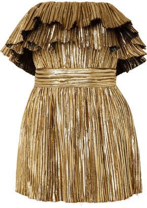 Saint Laurent Strapless Plissé-lamé Mini Dress - Gold