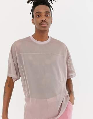 Asos DESIGN oversized t-shirt in mesh with yoke seam detail in pink