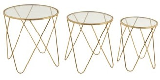 DecMode Decmode Set of 3 Contemporary 18, 20 and 22 Inch Metal and Glass Clip Legs Accent Tables, Gold