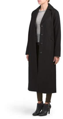 Notch Collar Wool Blend Maxi Coat
