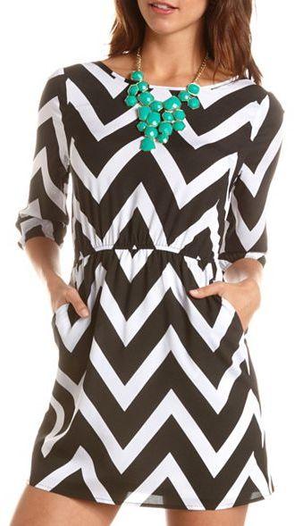 Charlotte Russe Chevron Stripe A-Line Dress