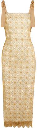 Rebecca Vallance - Blanca Metallic Lace Midi Dress - Cream $480 thestylecure.com