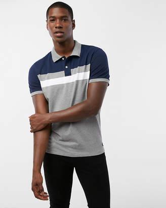 Express Chest Stripe Pique Polo Shirt