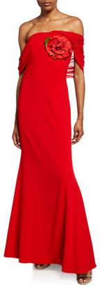 Badgley Mischka Square-Neck Grecian Drape Short-Sleeve Gown
