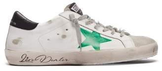 Golden Goose Super Star Felt Tip Distressed Leather Trainers - Mens - Green White