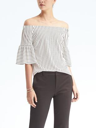 Stripe Crepe Off-Shoulder Top $54 thestylecure.com