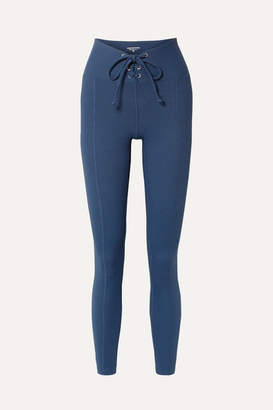 YEAR OF OURS Football Lace-up Ribbed Stretch Leggings - Navy