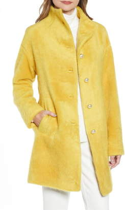 Kate Spade Pearly Button Fuzzy Coat