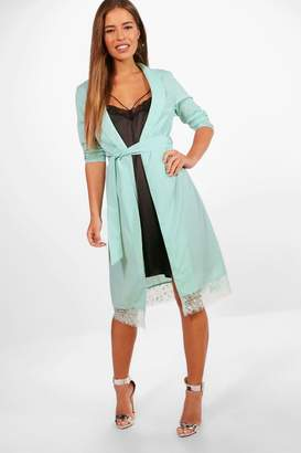 boohoo Petite Charis Lace Trim Belted Shaw Collar Duster