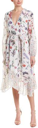 BCBGMAXAZRIA Floral Silk-Blend Midi Dress