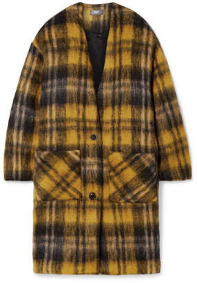 Amiri Oversized Checked Mohair-blend Coat - Yellow