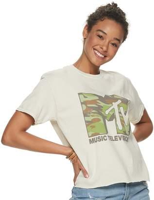 "Juniors' ""MTV"" Camo Logo Tee"