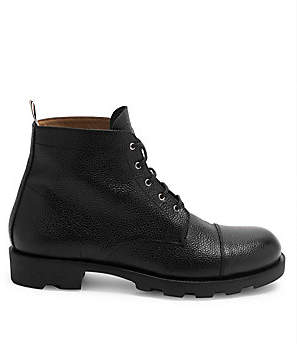 Thom Browne Men's Pebbled Leather Cap Toe Derby Boots