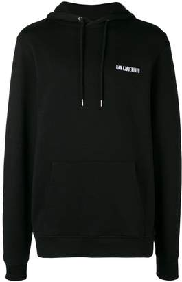 Han Kjobenhavn embroidered logo drawstring hoodie