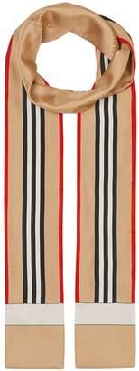 Burberry Icon Stripe print skinny scarf