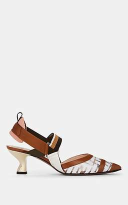 Fendi Women's Sculpted-Heel PVC & Leather Pumps - Brown