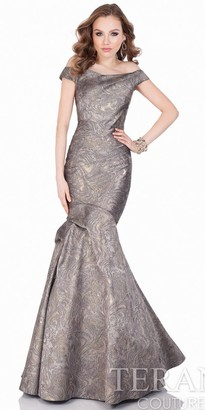Terani Couture Off the Shoulder Marble Jacquard Fit and Flare Evening Gown $638 thestylecure.com