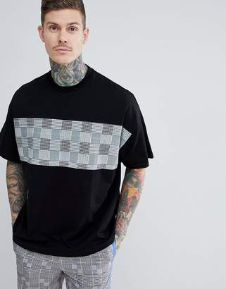 Asos DESIGN oversized t-shirt with check panel two-piece