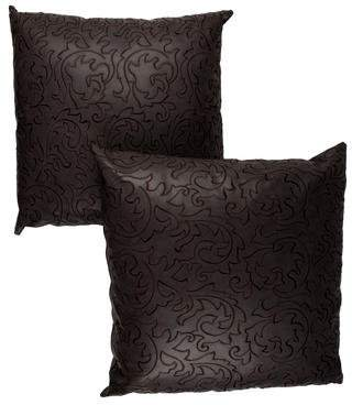 VG Pair of Home Embroidered Leather Pillows