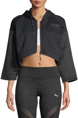 Puma Cropped Quilted FZ Hoodie Jacket