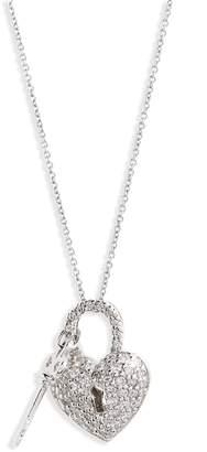 Roberto Coin Diamond Heart Lock Pendant Necklace