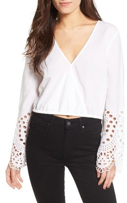 Women's Bardot Daydreamer Embroidered Cotton Crop Top $89 thestylecure.com