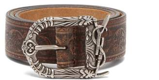 Saint Laurent Embossed Leather Belt - Womens - Brown