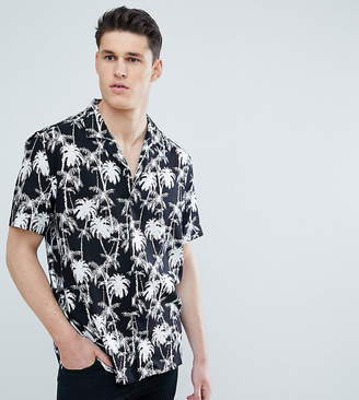 Asos Design DESIGN tall oversized hawaiian palm tree shirt with revere collar