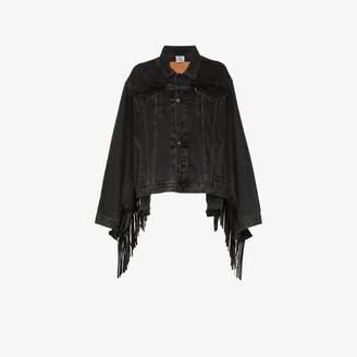 Vetements Fringed denim and leather jacket