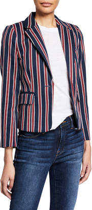 Frame Shrunken Striped Cotton Single-Button Blazer