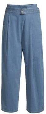 J Brand Pleated Wide Leg Belted Jeans