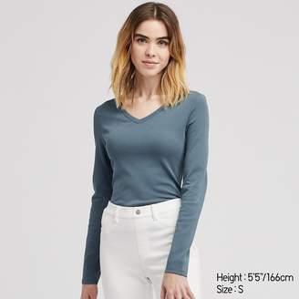 Uniqlo WOMEN Ribbed Cotton V Neck Long Sleeve T-shirt
