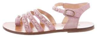 Chanel Suede Chain-Link Sandals