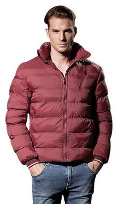 HZIJUE Red Mens Hoodie Coat Winter Puffer Down Jacket